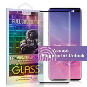 НЕТ HOLE Fingerprint Unlock СЛУЧАЙ Дружественные протектор экрана для Samsung примечание 20 ультра S10 Примечание 10 S10 PLUS Примечание 9 Полное покрытие Закаленное стекло