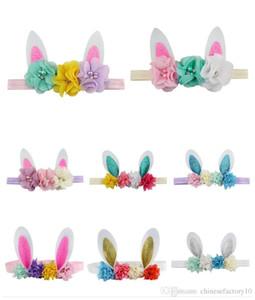 Девочка оголовье Пасхальный заяц Уши ободки с цветами Алмазные Для Фестиваль моды Дети Rabbit Ears Лук милые аксессуары 6 цветов