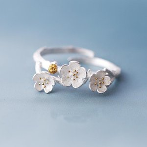 Wholesale- Atreus The cherry blossom branch resizable open ring in white copper silver Color Amazing Charm Ring For Women
