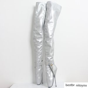 """extreme high heel 18cm 7"""" Spkie Heel thigh high boot sexy Thin heels crotch boots patent leather fashion show boots"""