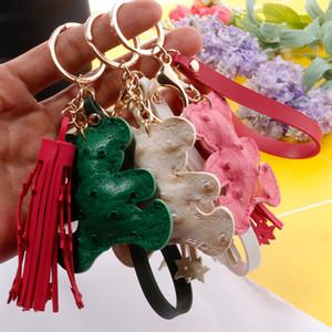 Mignon Teddy Bear Chaînes de clés Animal Design Star Tassel Keychains Bague Charms Cuir Touches de voiture Touches Sac Pendentif Bristel Keyring Bijoux