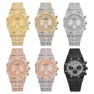 Royal Oak-Diamant-Uhr Alle Subdial Arbeit der Männer Luxusuhren Iced Out Herren Chronograph Armbanduhr Hip Hop Männer Sportuhren