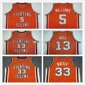 # 5 Deron Williams # 13 Kendall Gill # 25 Nick Anderson # 33 Kenny Batalha Illinois Fighting Illini Colégio Retro Basketball Jersey Mens costurado