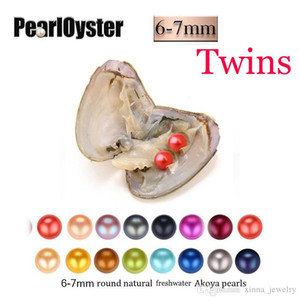 2020 DIY 27 colors round Twins pearls oysters, Natural 6-7mm, individually wrapped, great party gift Freshwater shell mussel Wholesale