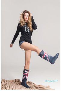 Hot Sale-nting Flag Classic Ladies Rubber MIid-Calf Heels Waterproof Buckle Rainboots 2016 New Fashion Design Tall Blue