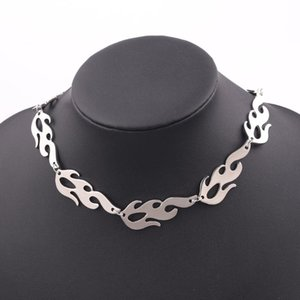 Fashion Harajuku Streetwear Flame Unisex Necklace Punk Rock Silver Chain Choker Necklaces Nightclub For Women Men Jewelry Gifts