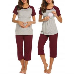 Última camisa blanco y negro mosaico de lactancia maternidad popular del verano de manga corta con recortada pantalón de pijama mujer embarazada ajustable Mami