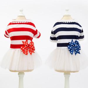 Pet Stripes Skirt Fashion Puppy Dog Princess Dress yarn Skirt for Small and Medium Dogs Simple Dress Suit Pet Dog Tutu Dress