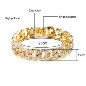Pulseras de cadena cubana de oro de 18k para hombres Hip Hop 14mm 23 cm Iced Out Crystal Miami Bracelet The Hip Hop King Vintage Jewelry Punk Bangles