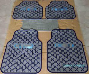 Embossed Letter Latex Pad Car Mat 5 Pieces Sets Fashion Designer Automobile Brake Front Car Mat Waterproof Pad