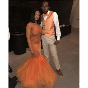 Afrikanische Orange 2019 Mermaid Prom Dresses Lange Ärmel Neue Spitze Applique Tull Illusion Stehkragen Formale Abendkleid Party Kleider