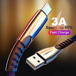 3A liga de zinco Tipo C USB Cord Cabo de Dados Rápido cabo de carregamento para Samsung S10 Micorusb Micro cabo USB para Android Phones USB Charger Cord