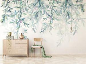 Toptan 3d Duvar Kağıdı küçük taze el boyalı suluboya yeşil yapraklar Nordic minimalist duvar dekorasyon duvar duvar kağıdı