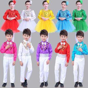New Year's Day Children Chorus Show Serve Long Sleeve Pupil Girl Princess Skirt Thick And Disorderly Yarn Kindergarten Dance Serve Dance