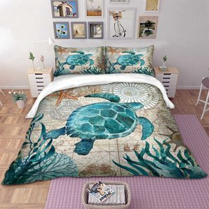 Turtle Impresso 3D edredon cobrir Set Rei Queen Size Home Textile Sea Horse Dolphin Consolador cama 100% Poliéster For Kids