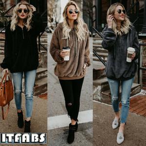 Mode Sweat Polaire Fermeture à glissière pull avec capuche Femme d'hiver de poche chaud Fluffy Sweat Hoodies Femmes Casual Plus Size