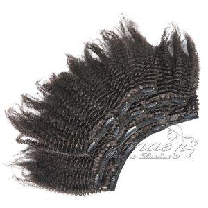 인 버진 레미 인간의 머리 확장에서 Vmae 4A 4B 4C 변태 스트레이트 120g 자연 색상 전체 표피 정렬 아프리카 변태 곱슬 클립