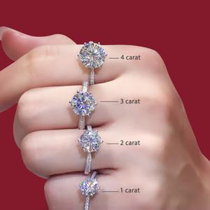 Plata de ley 925 anillo de Moissanite de estilo clásico corte redondo anillo de una hilera de diamante del aniversario del contrato del anillo de 1 cuenta 2ct 3ct
