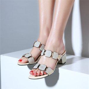 Fedonas modo donne eleganti tacchi alti sandali sexy del cuoio genuino scarpe fibbie estate moda donna femmine pantofole