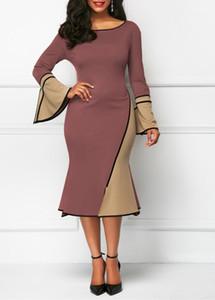 Womens veste il vestito per la femmina del partito di modo delle signore della molla Panelled vestiti dalla matita sirena sexy Flare manica