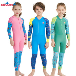 Dive Sail One Piece Swimuit manica lunga Upf 50+ Kids Diving Rash Guard Swimwear per Girl Boy Sun protettiva Beach Suit Muta Y19062801