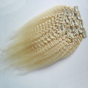 Rubia brasileña Remy Kinky Clip para cabello recto en extensiones de cabello humano Yak grueso 9 piezas / juego 100Gi
