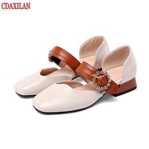 sandálias CDAXILAN New Arrivals Mulher suave tecido de couro PU saltos quadrados da bracelete Mid-sandálias de salto no verão