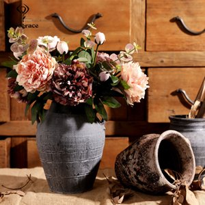 T191219 Disposición LoveGrace dama de compañía de bricolaje flor del Peony Ramo 2 Cabezas fiesta de la boda del Peony de seda artificial decoración flor Prom