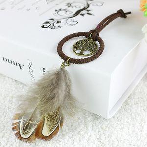 Hecho a mano Dreamcatchers Llaveros natural de la pluma árbol de la vida Dreamd Catcher llaveros ornamento decorativo clave hebilla del color de Brown 2 9XR E19
