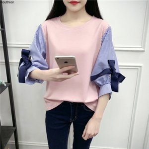 Houthion Women's Top Shirt Blouse Spring Loose Long Sleeve Summer New Stitching Korean Version Top Bow Shirt Blouse O-Neck