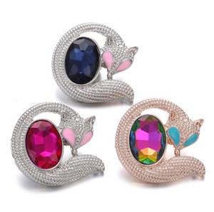 10 Stücke Neue Snaps Schmuck Rose Gold Silber Strass Kristall Fox Druckknöpfe Fit 18mm Snaps Armband Halskette für Frauen