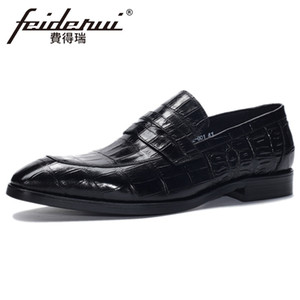 2019 Design Genuine Leather Men's Handmade Wedding Loafers Alligator Pattern Square Toe Slip on Man Casual Shoes BQL269