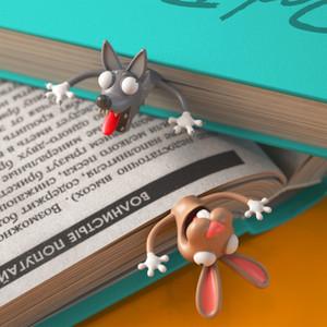 Creative 3D Animal Bookmark Diseño original Lindo divertido gato Estudiante con 2 piezas Bookmark Kid Cooperative Wholesale