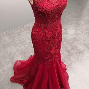 Red Mermaid Evening Party Dress 2019 Lungo Close Back Senza Maniche In Rilievo Ricamo Cerimonia Convenzionale Prom Party Gown 5491
