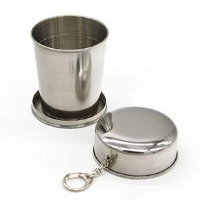 Vaso de acero inoxidable 240ML Vaso portátil de viaje al aire libre Copa plegable plegable Copa de vino telescópica Botella de agua ZZA1057