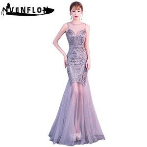 Venflon Frauen Kleid Sommer 2019 Elegante Perlen Pailletten Lange Partykleid Weibliche Formale Sexy Backless Chiffon Mermaid Maxi Kleider Y190426