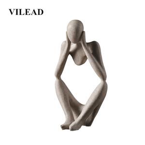 VILEAD Nordic Abasract Thinker Statue estatueta de resina Office Home decoração de mesa Decoração Handmade Artesanato Escultura T200619 Arte Moderna