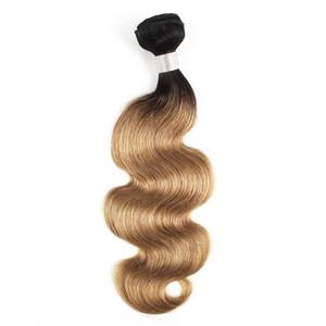 Brésiliens Body Wave Weave Bundles 1B / 27 Ombre Honey Blonde Deux Tons 1 Bundles 10-24 pouces Péruvien Extensions de Cheveux Humains Malaisiens