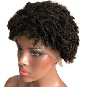 Afrikanische Curly Lace Front Menschenhaar-Perücken natürlich aussehende 130% Dichte 8 Zoll brasilianische Remy Menschenhaar kurze Perücken für Frauen