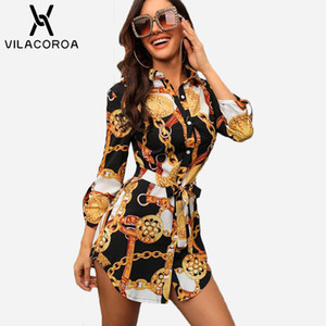 Sexy Middle Sleeve Chain Print Frauen Blusen Und Tops Revers Lace-Up Button Frauen Blusen Casual Top Blusas Chemise Femme vestido