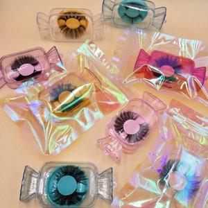 حالات الكريستال كاندي التفاف الرموش ل25MM جلدة 3D المنك الشرائط قنبلة العين جلدة قطرة الشحن FDshine