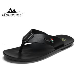 ALCUBIEREE Summer Mens Breathable Sandals for Man Casual Flip Flops Genuine Leather Slides Slippers Outdoor Beach Shoes Homme T200420