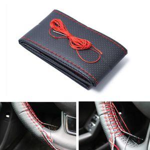 Adeeing 38cm de diámetro hecha a mano de microfibra Volante de cuero cubierta Rojo + Negro cubierta de la alta calidad del volante r30