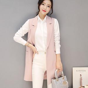 2020 Spring Autumn Sleeveless Blazer Vest Singel Button Long Vest Waistcoat Female Women Outwear Jacket Pocket Coat P3413