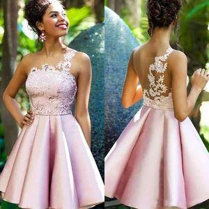 Удивительные розовый Homecoming платье 2019 атласные кружева аппликация Ruched A Line Princess Короткие Prom Party Wear Выпускные платья на заказ