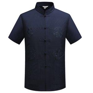 Mandarin Collar Kung Fu Tai Chi uniforme traditionnel dragon chinois Tang Costume Vêtements Top Summer Cotton Linen Shirt Hommes M-XXXL