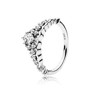 Clear CZ Diamond Fairytale Tiara Ring caja original para Pandora 925 Sterling Silver Crown Mujeres de la boda Set
