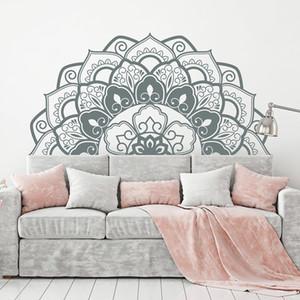 Мода Mandala Wall Art Таблички Half Mandala изголовья Home Decor Виниловые Bohemian стены стикеры спальня Йога студия Wall LC1193 Y200103