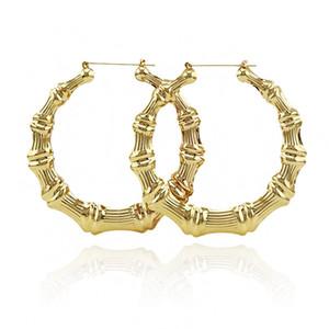 Bijoux de luxe multiples formes Ethnique Grand Vintage plaqué or boucles d'oreilles en bambou Hoop pour les femmes