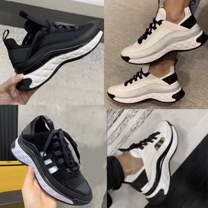 Mulheres Velvet bezerro Shoes Designer Sneakers Couro Real Oversize Platform Trainers Preto Marfim Sneaker respiráveis fibras mistas com caixa